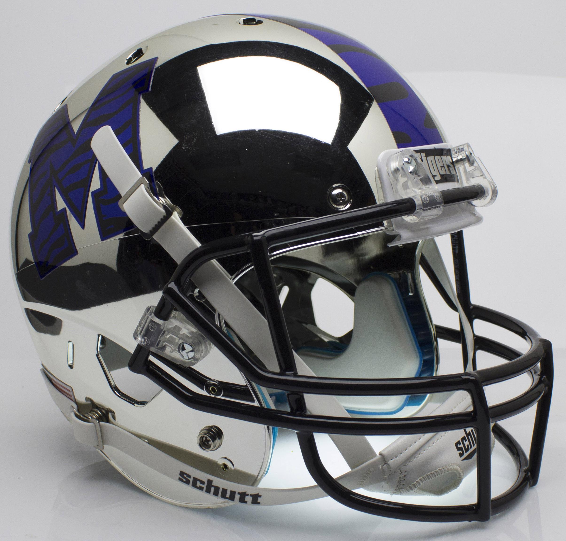 Memphis Tigers Full XP Replica Football Helmet Schutt <B>Chrome</B>