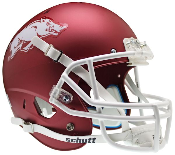 Arkansas Razorbacks Full XP Replica Football Helmet Schutt <B>Matte Crimson</B>