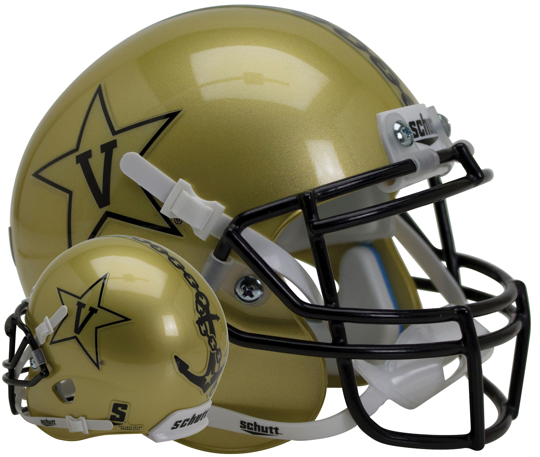 Vanderbilt Commodores Authentic College XP Football Helmet Schutt <B>Gold</B>