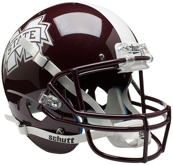 Mississippi State Bulldogs Full XP Replica Football Helmet Schutt <B>Matte</B>