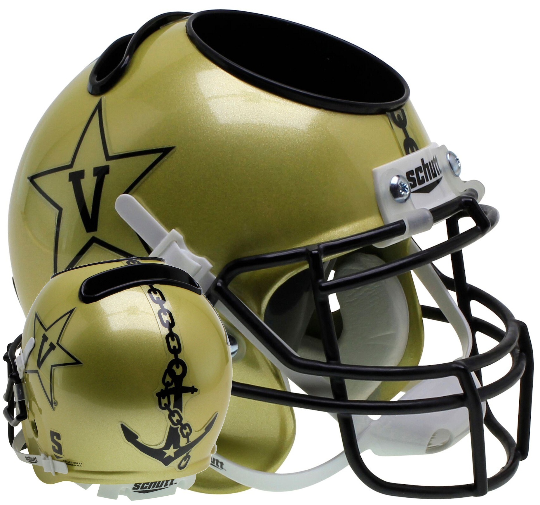 Vanderbilt Commodores Miniature Football Helmet Desk Caddy <B>Gold</B>
