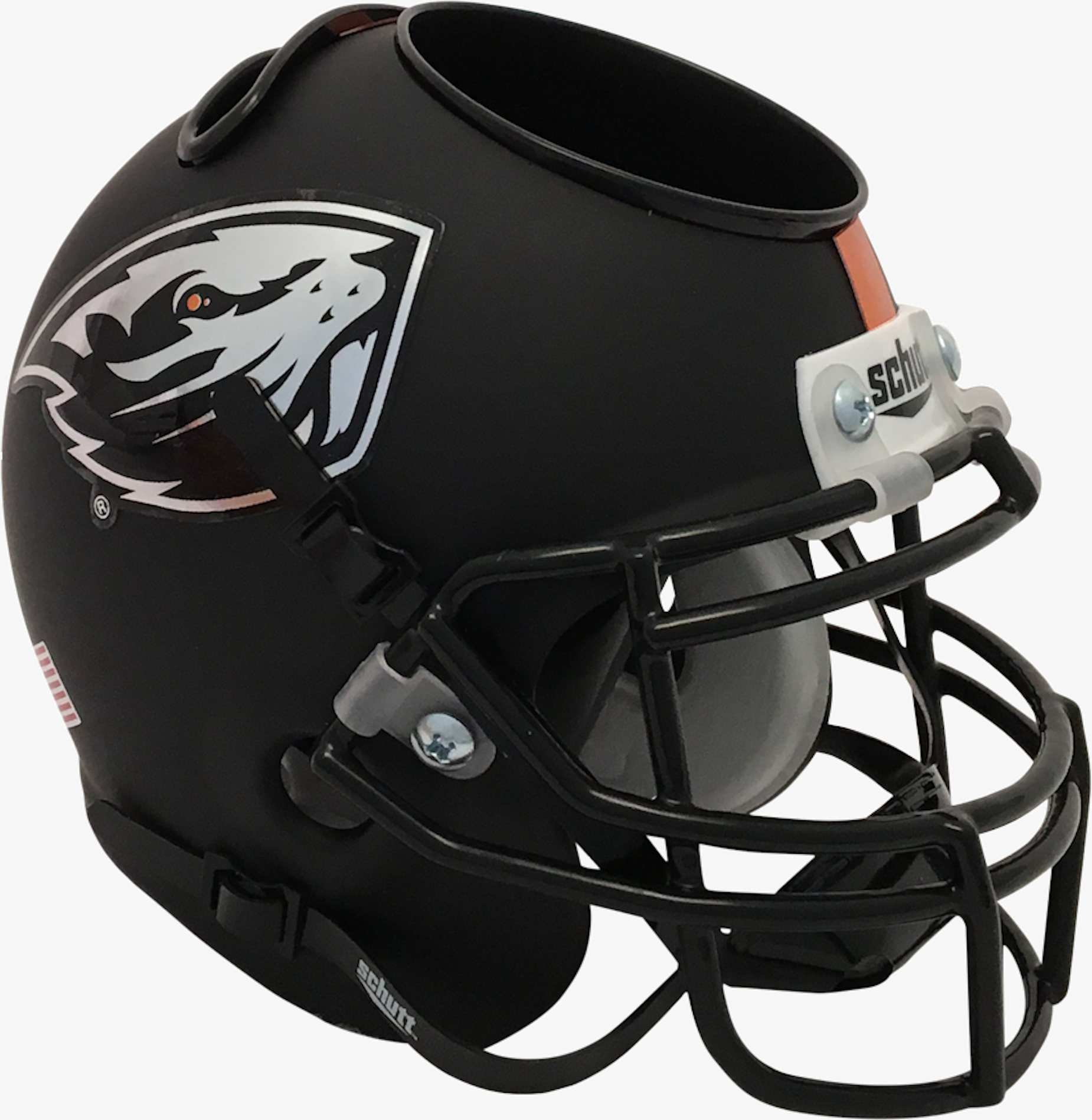 Oregon State Beavers Miniature Football Helmet Desk Caddy <B>Matte Black</B>
