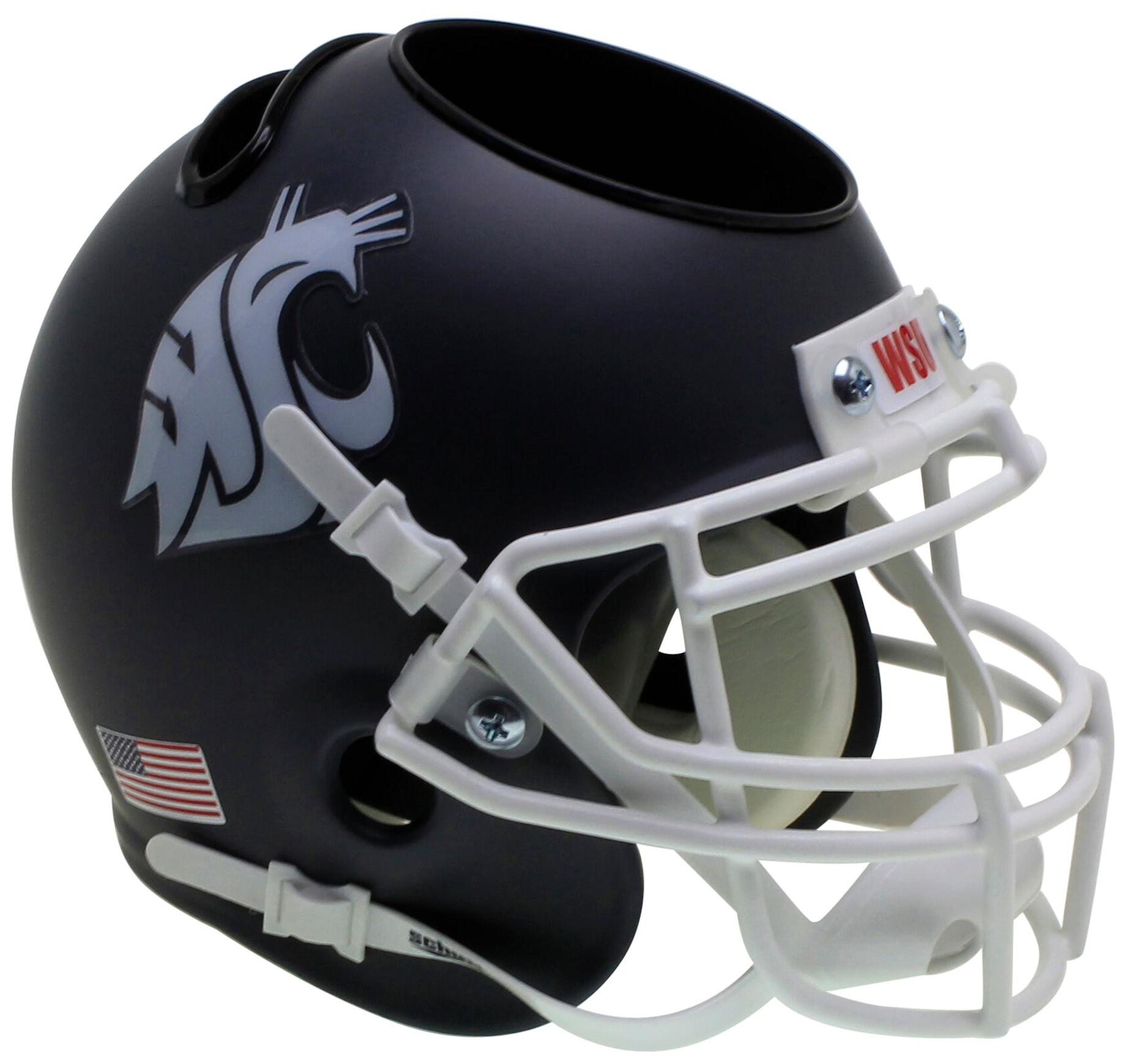 Washington State Cougars Miniature Football Helmet Desk Caddy <B>Matte Gray</B>