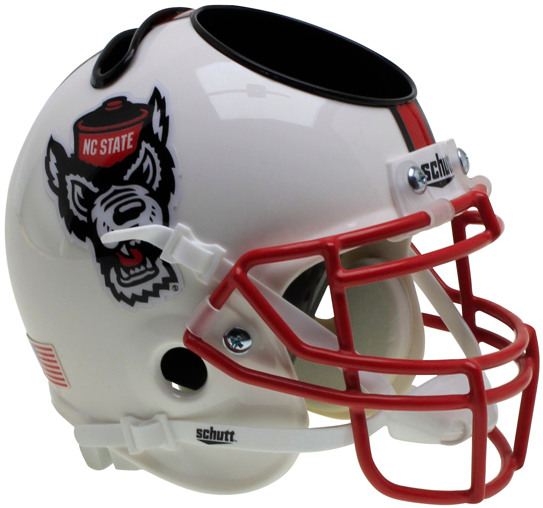 North Carolina State Wolfpack Miniature Football Helmet Desk Caddy <B>White Wolf</B>