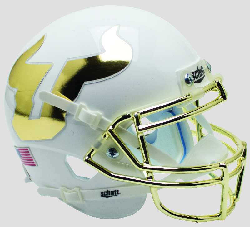 South Florida Bulls Authentic College XP Football Helmet Schutt <B>White Chrome Mask</B>