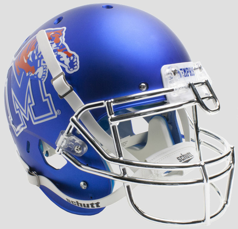 Memphis Tigers Authentic College XP Football Helmet Schutt <B>Satin with Chrome Mask</B>