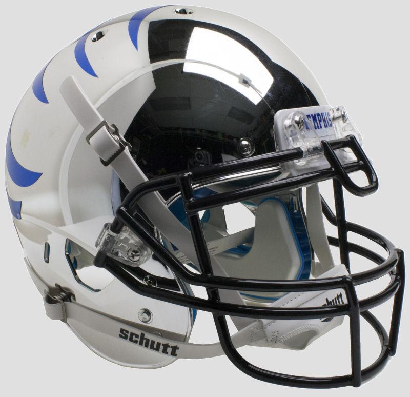 Memphis Tigers Authentic College XP Football Helmet Schutt <B>Chrome with Blue Stripes</B>