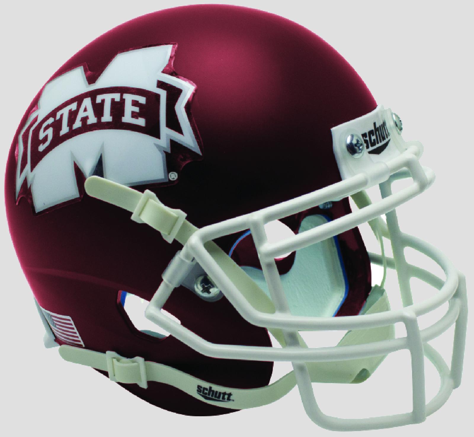 Mississippi State Bulldogs Authentic College XP Football Helmet Schutt <B>Satin Maroon</B>