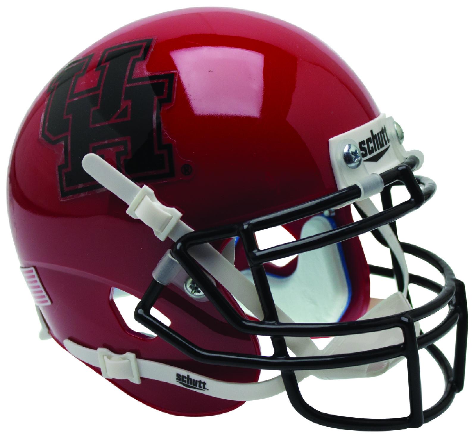 Houston Cougars Full XP Replica Football Helmet Schutt <B>Black Mask</B>