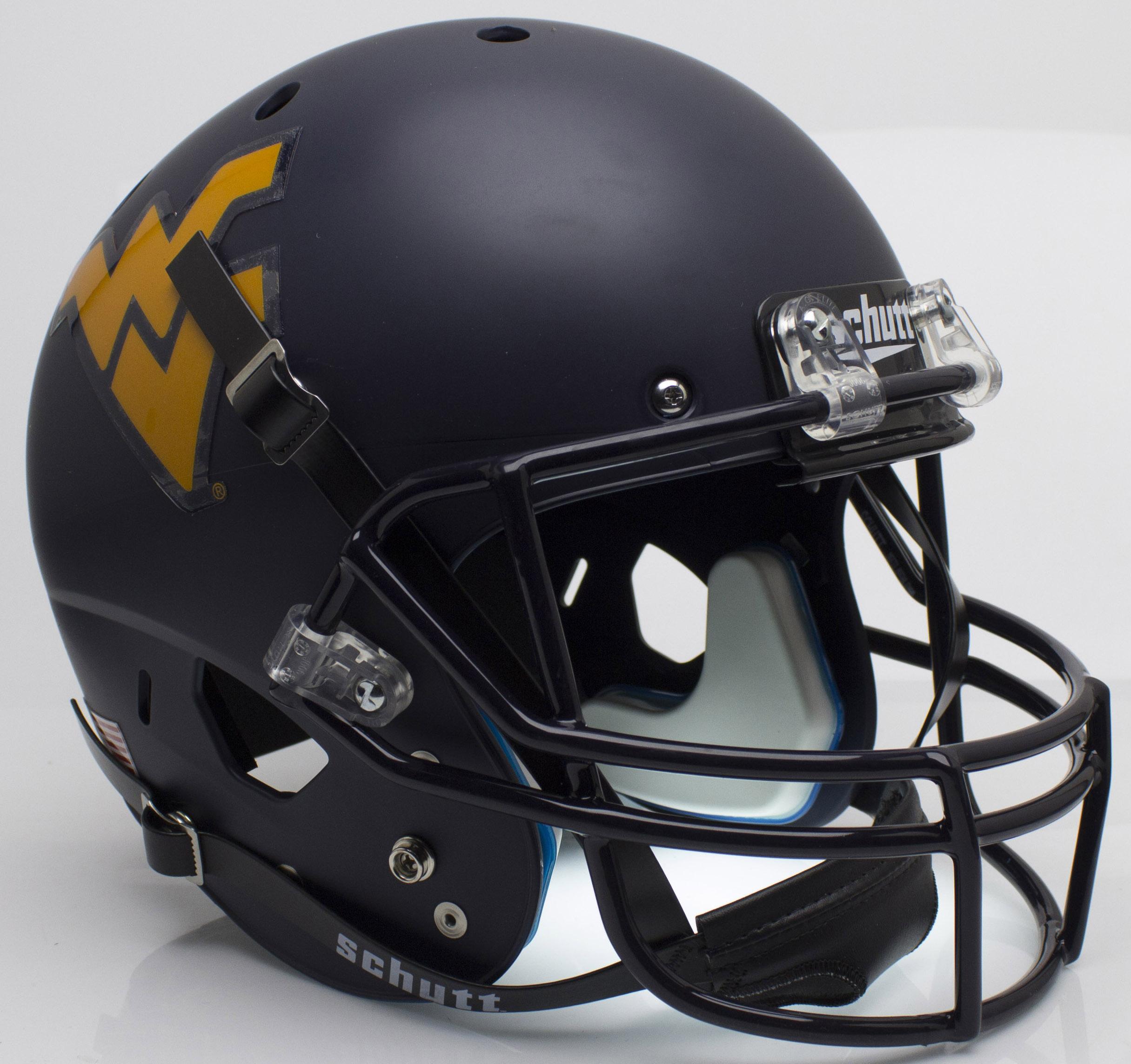 West Virginia Mountaineers Full XP Replica Football Helmet Schutt <B>Matte Navy</B>