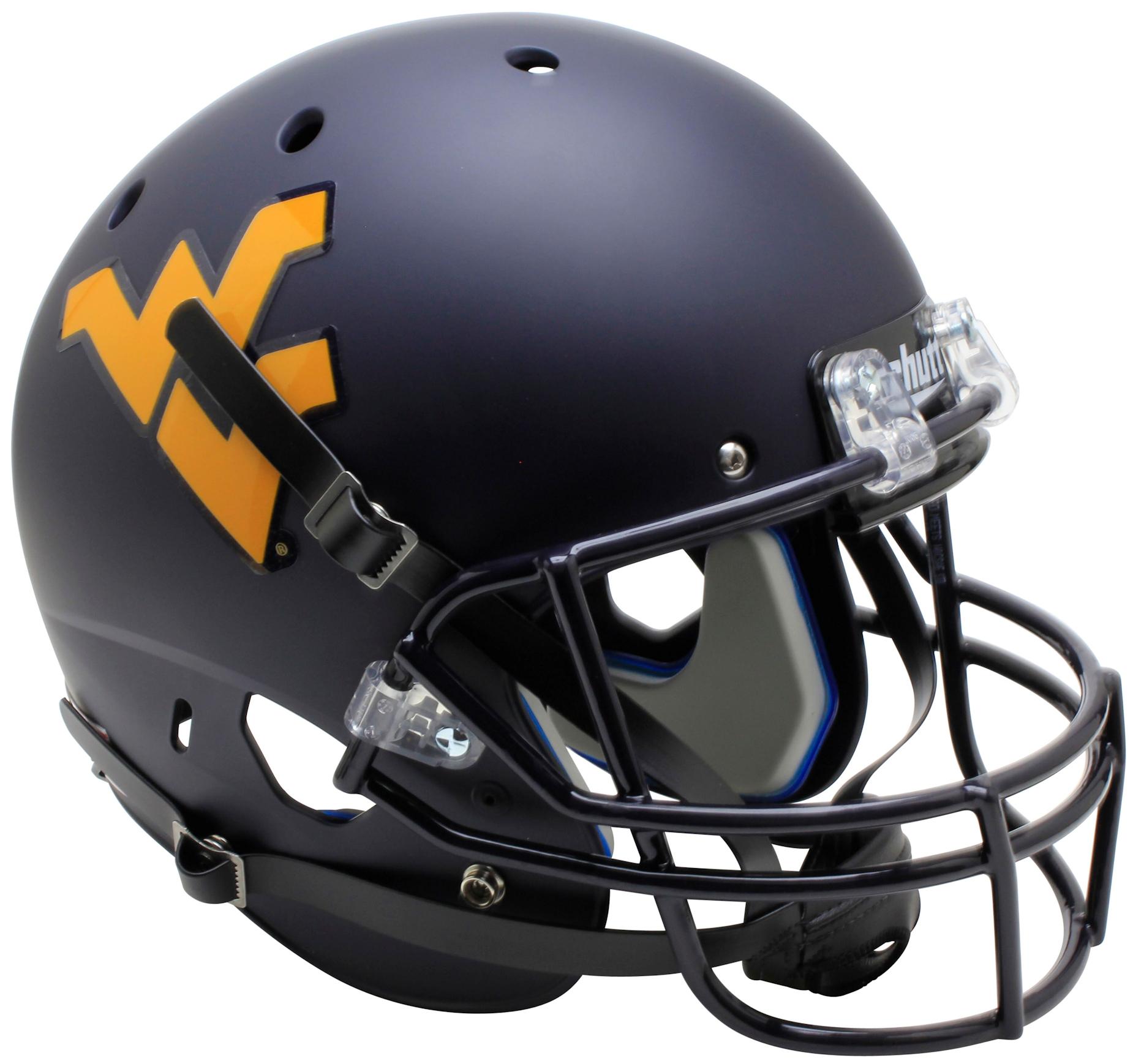 West Virginia Mountaineers Full XP Replica Football Helmet Schutt <B>Country Roads Bumper</B>
