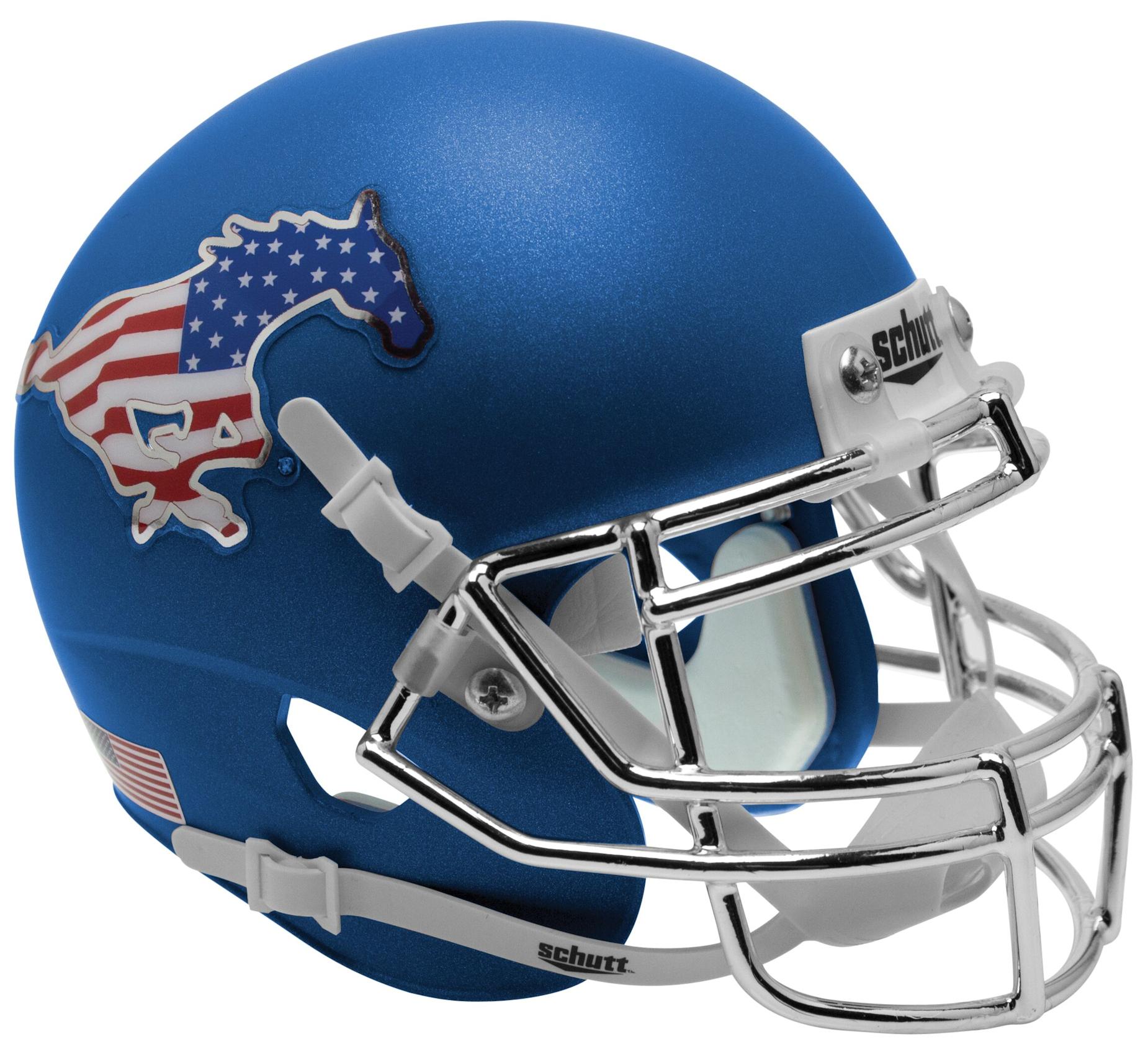 Southern Methodist (SMU) Mustangs Full XP Replica Football Helmet Schutt <B>Satin Blue Flag</B>