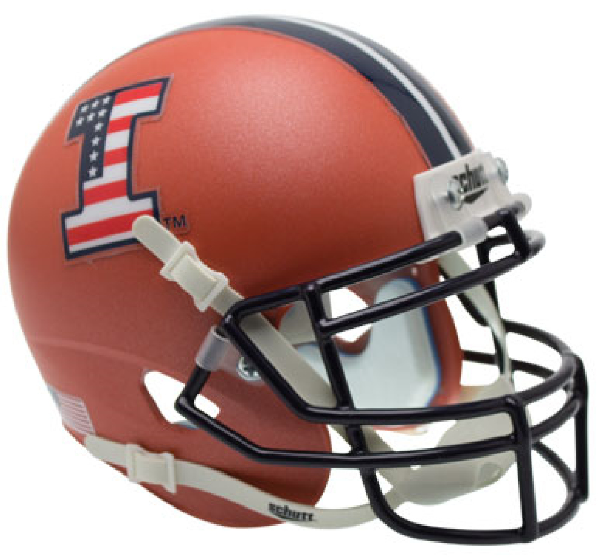 Illinois Fighting Illini Miniature Football Helmet Desk Caddy <B>Matte Orange Flag Decal</B>