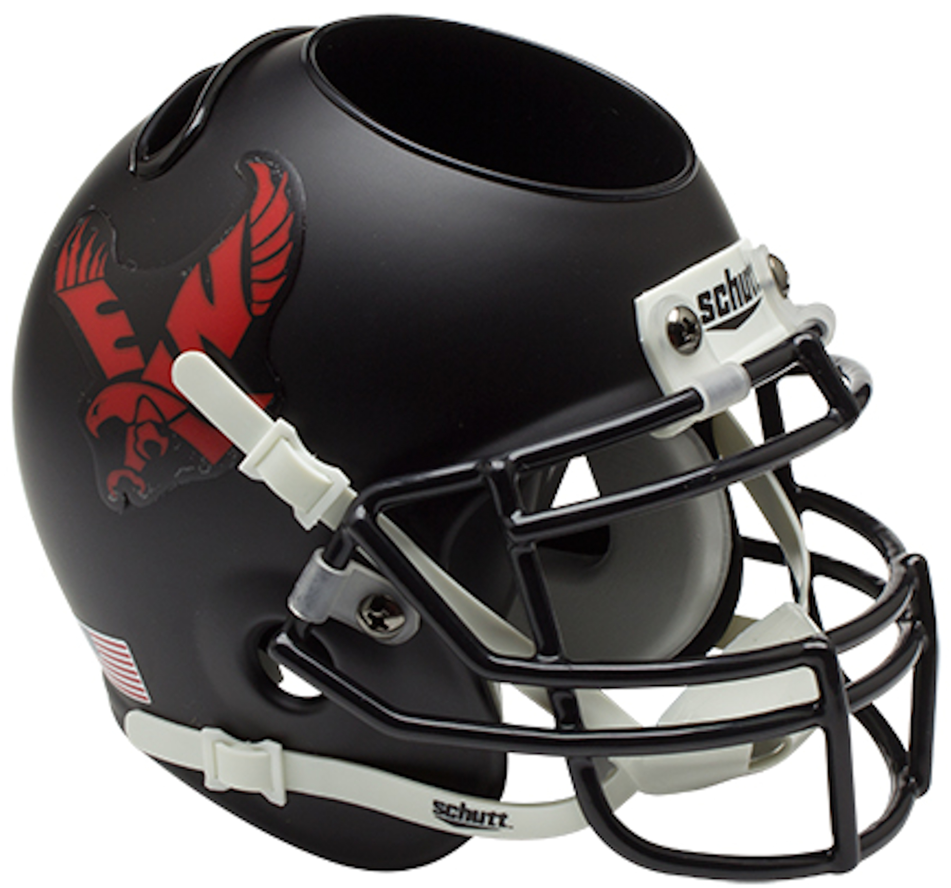 Eastern Washington Eagles Miniature Football Helmet Desk Caddy <B>Matte Black</B>