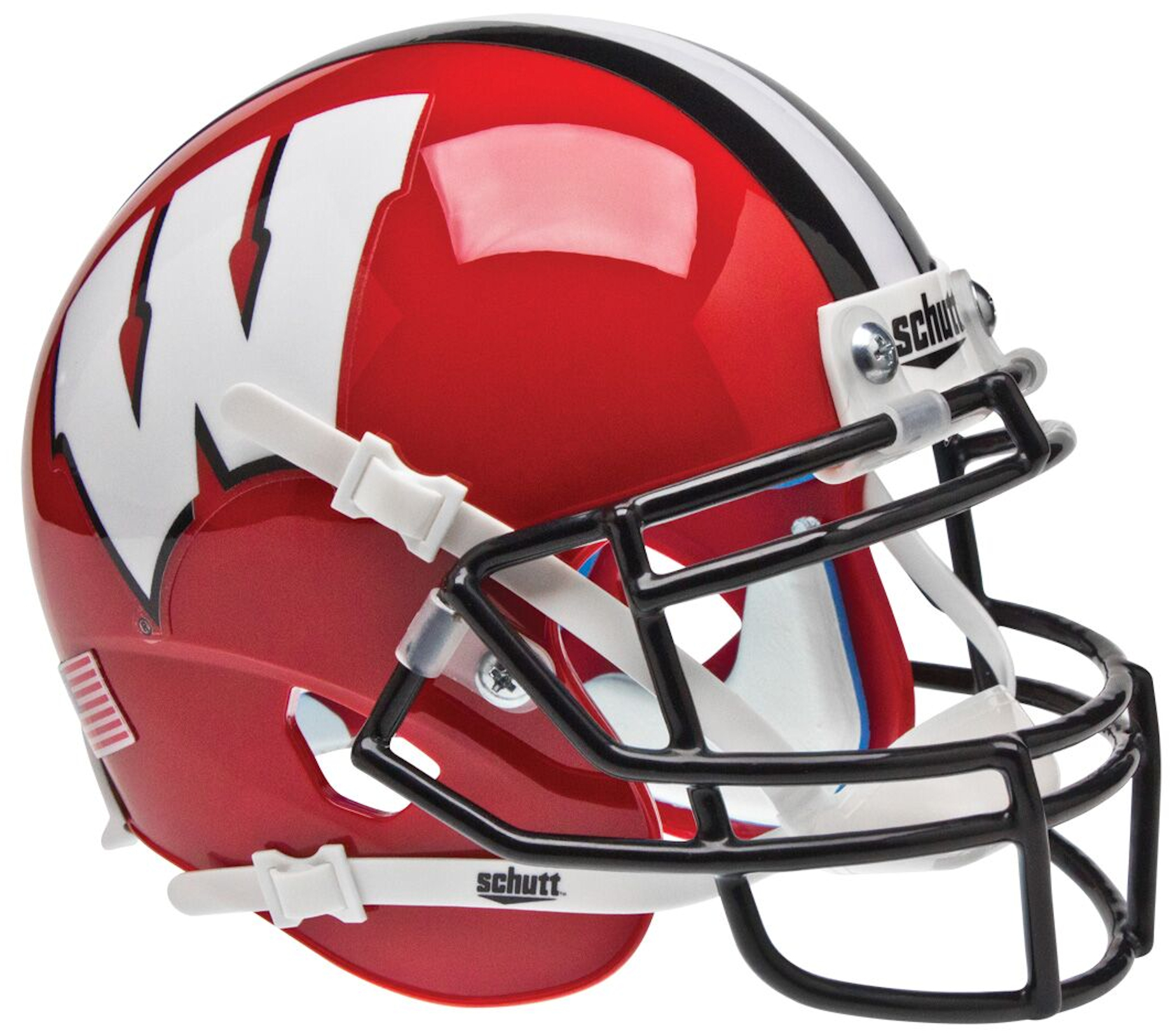 Wisconsin Badgers Mini XP Authentic Helmet Schutt <B>Red Black Mask</B>