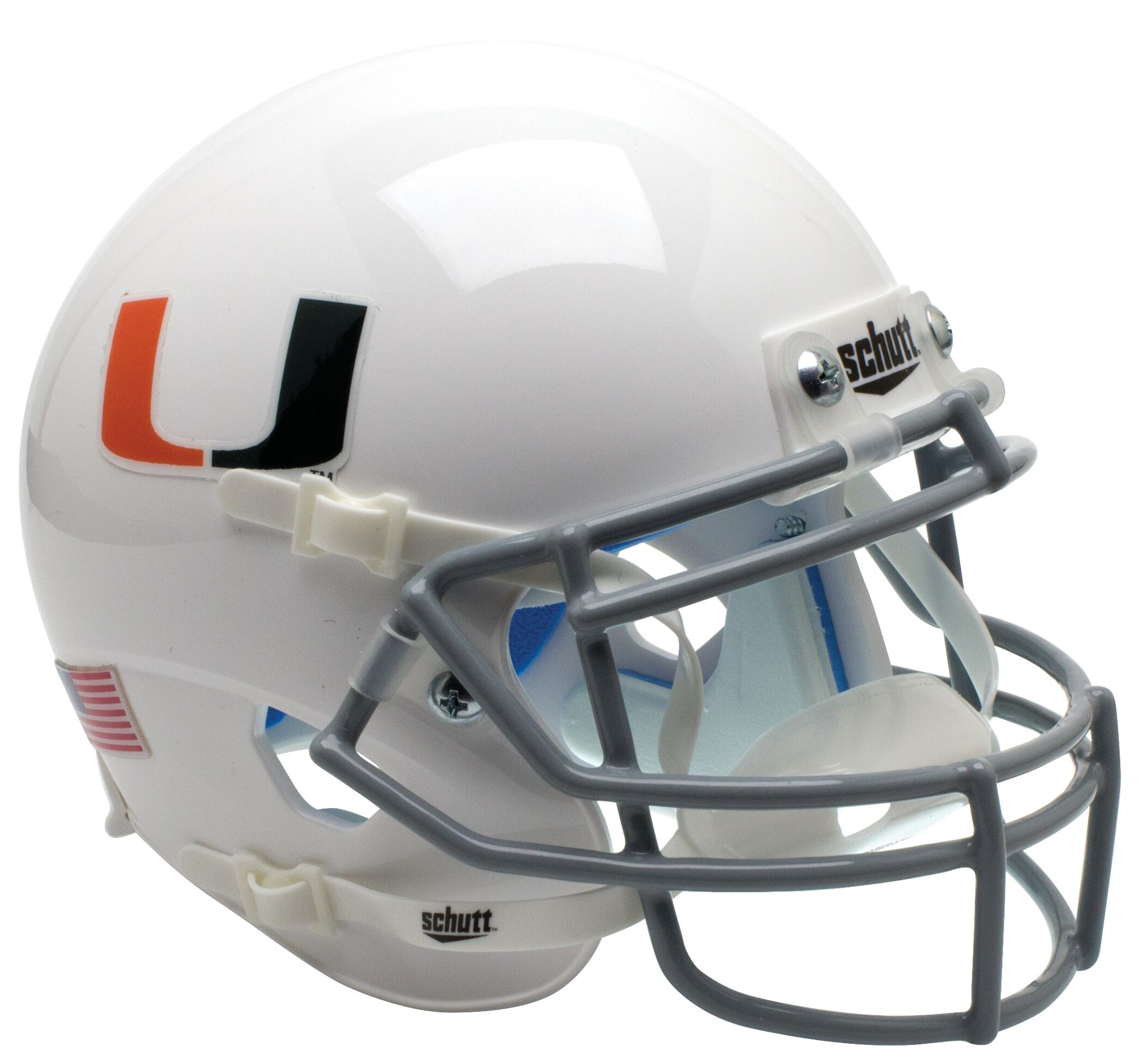 Miami Hurricanes Mini XP Authentic Helmet Schutt <B>White with Black Mask</B>