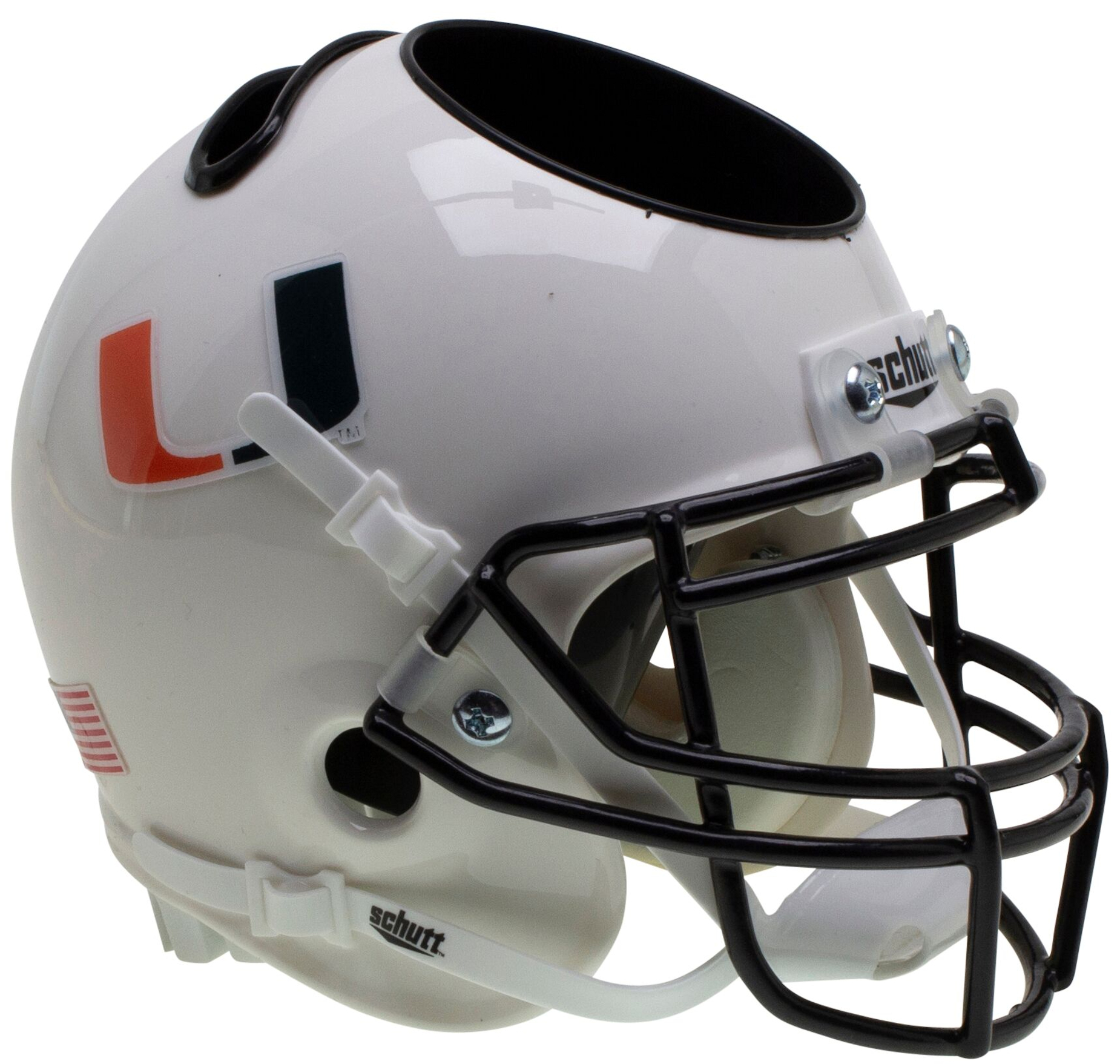 Miami Hurricanes Miniature Football Helmet Desk Caddy <B>White with Black Mask</B>