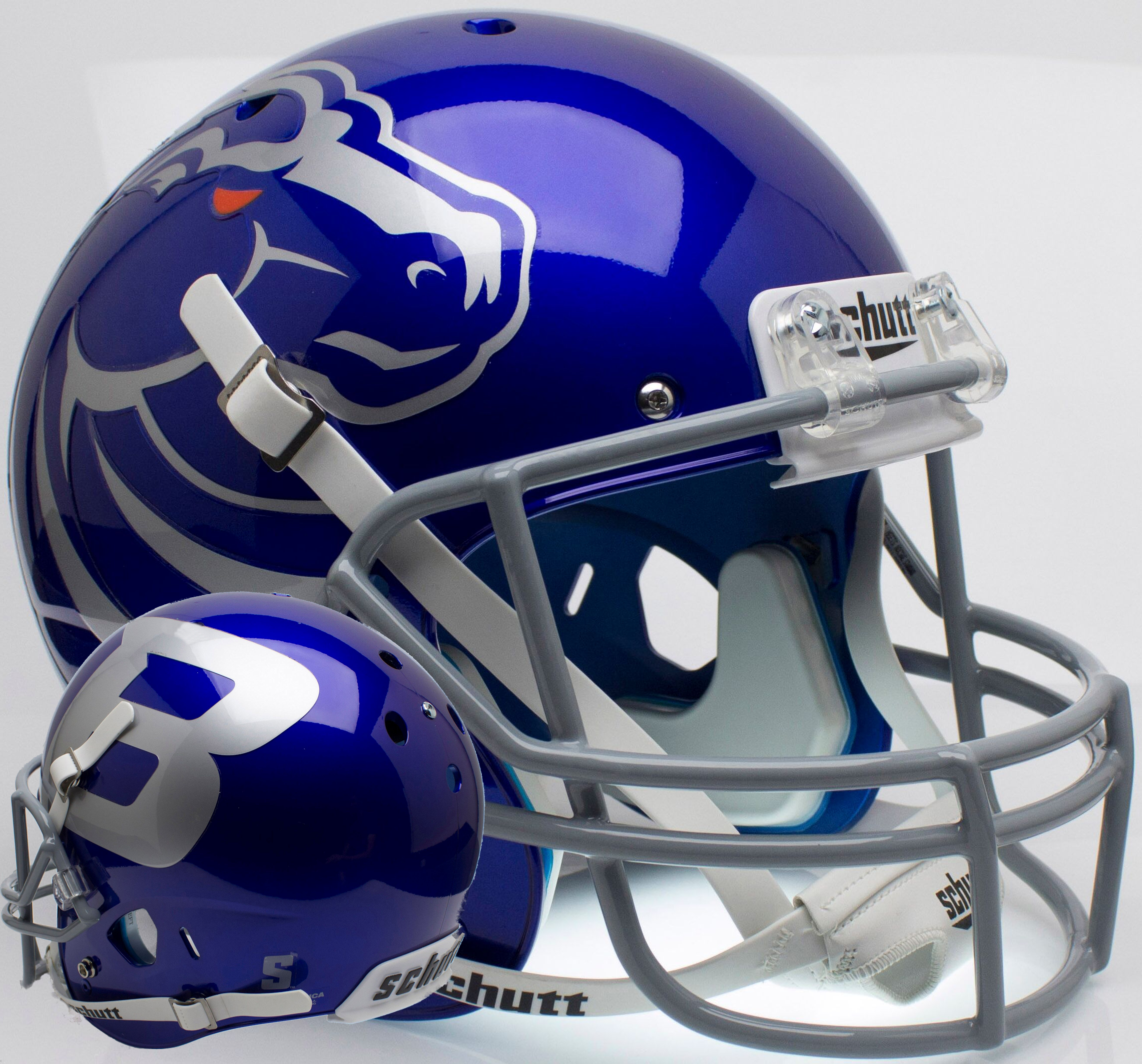 Boise State Broncos Full XP Replica Football Helmet Schutt <B>Blue</B>