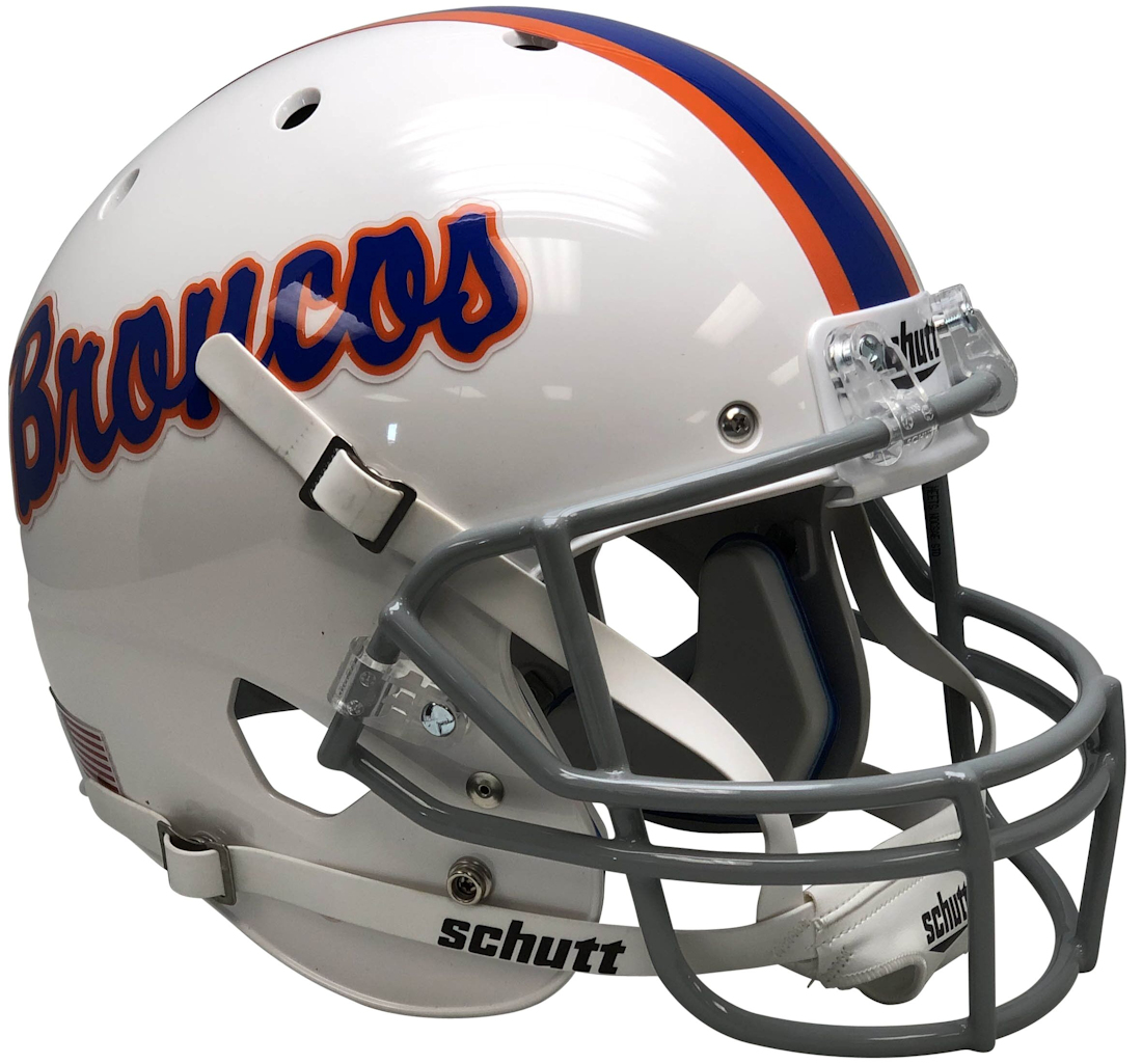 Boise State Broncos Full XP Replica Football Helmet Schutt <B>White With Pinstripe</B>
