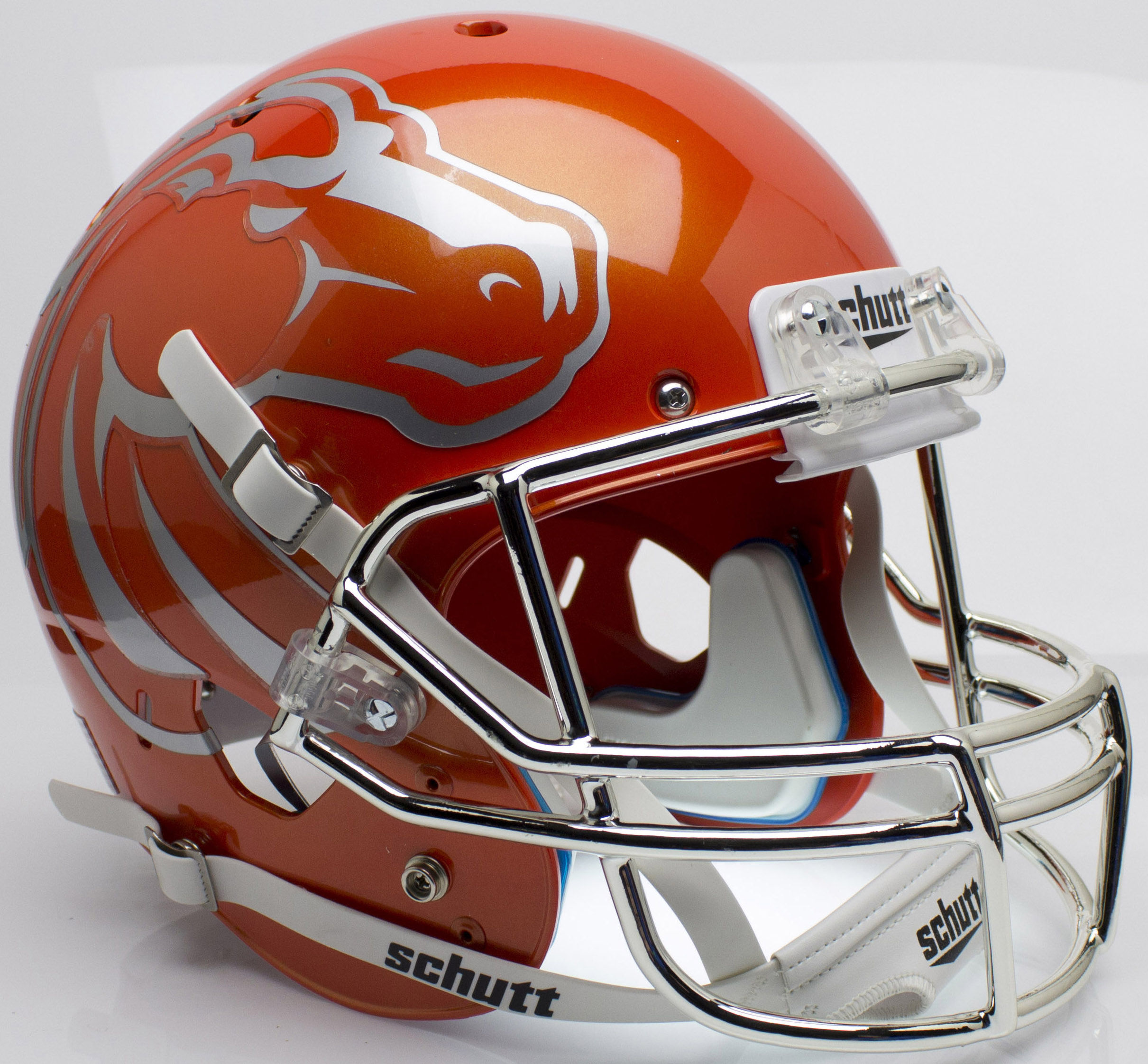 Boise State Broncos Full XP Replica Football Helmet Schutt <B>Orange with Chrome Mask</B>