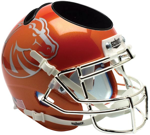 Boise State Broncos Miniature Football Helmet Desk Caddy <B>Orange with Chrome Mask</B>