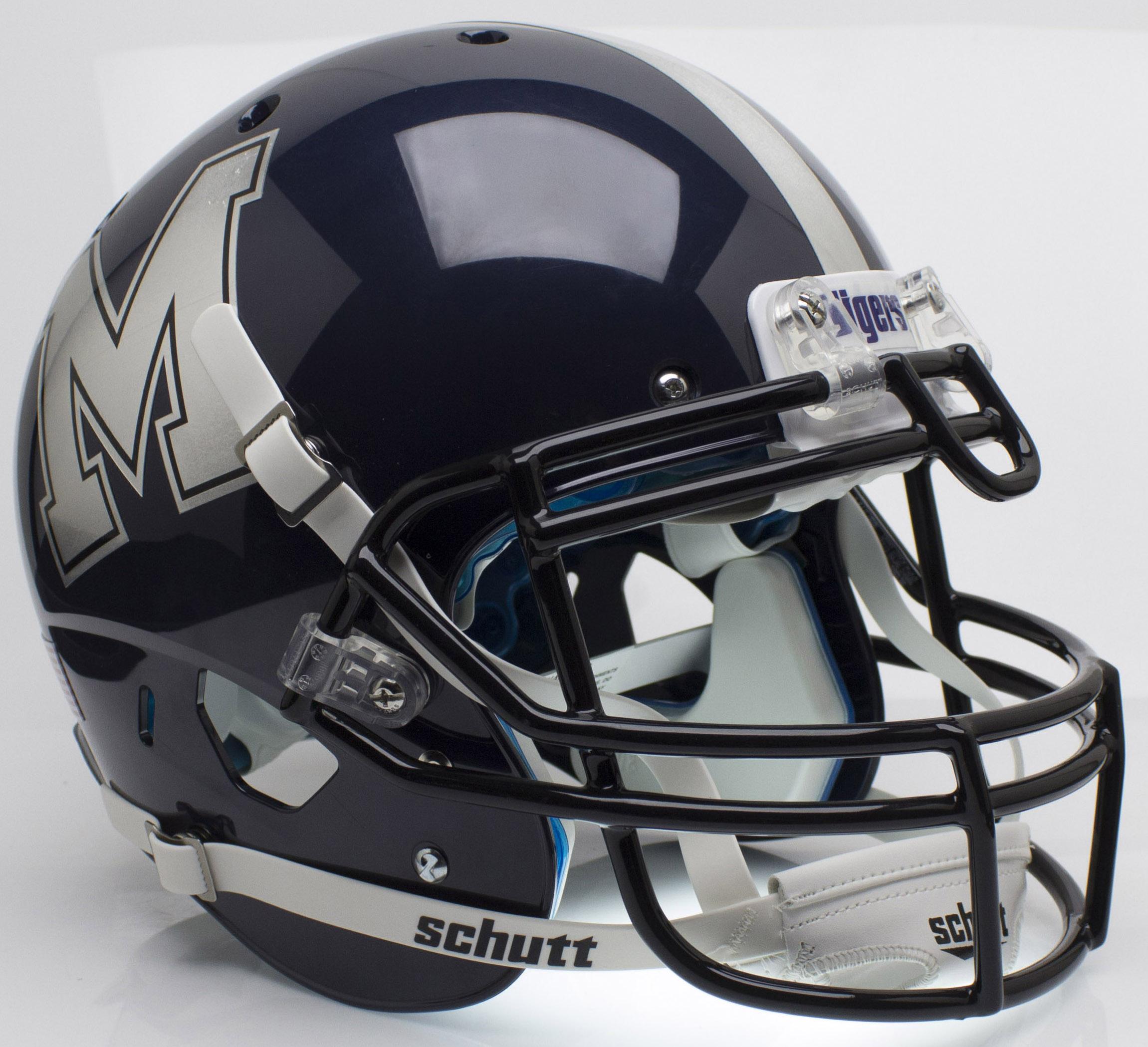 Memphis Tigers Authentic College XP Football Helmet Schutt <B>Chrome Decal</B>