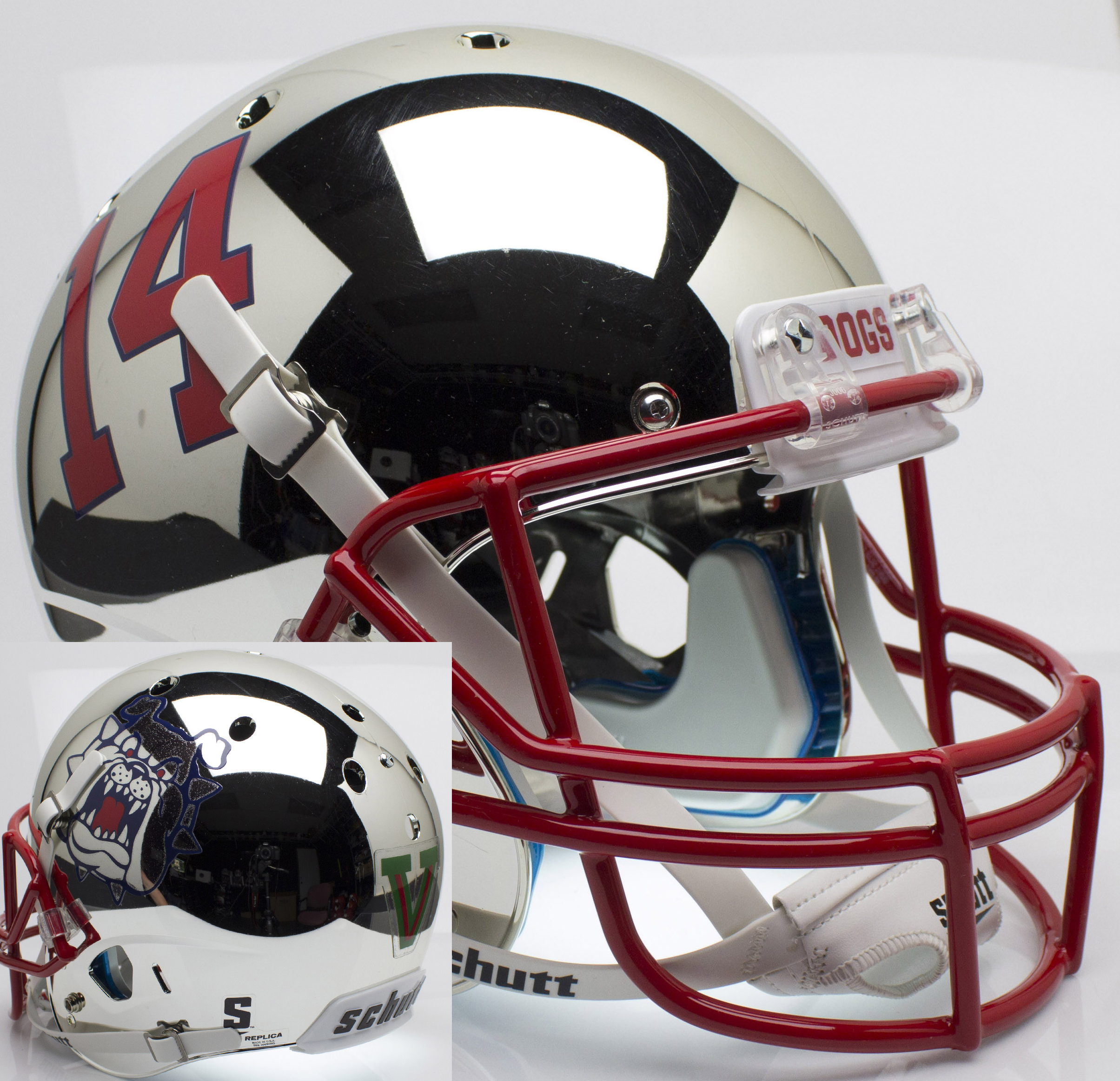 Fresno State Bulldogs Full XP Replica Football Helmet Schutt <B>Chrome</B>