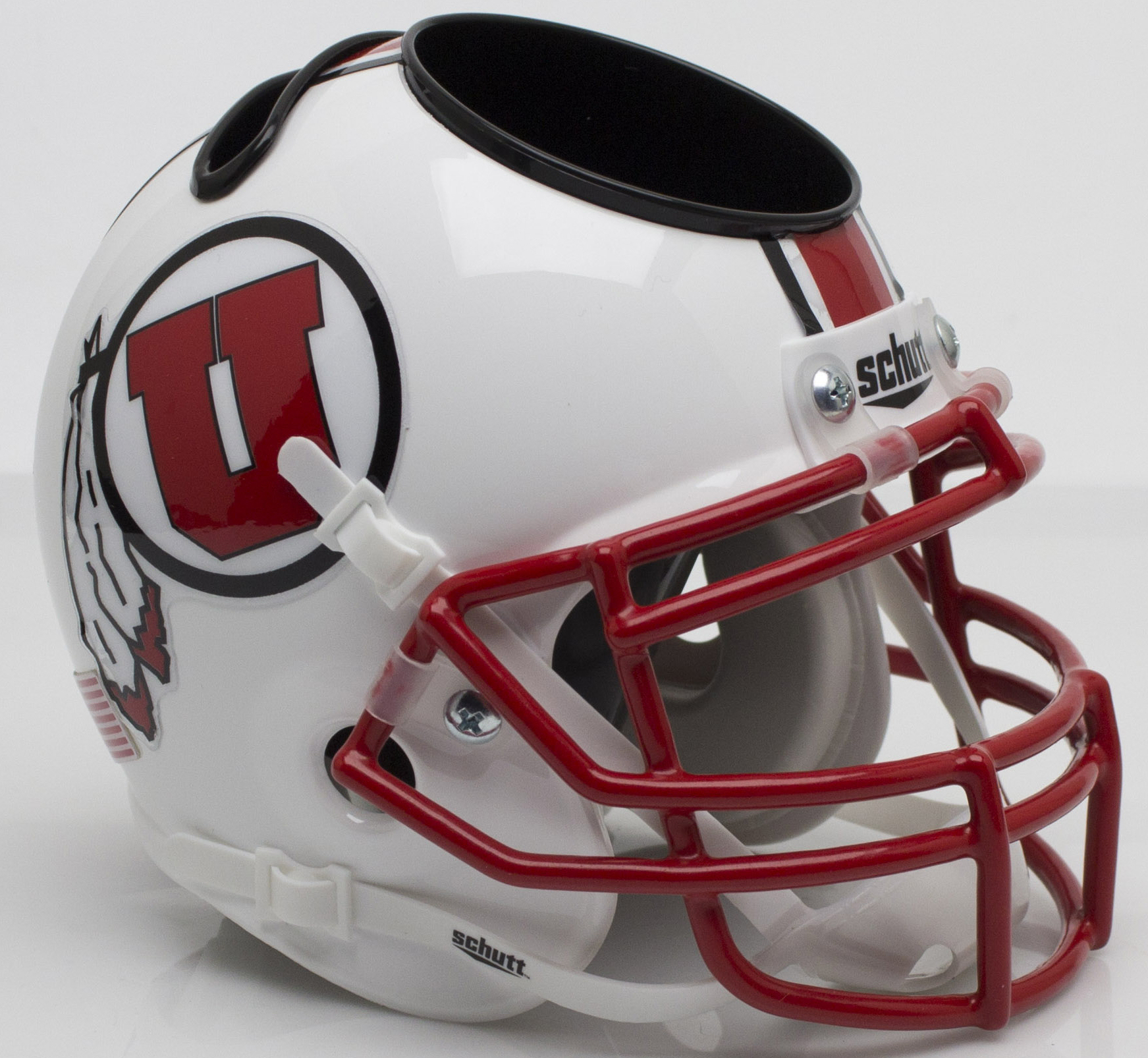 Utah Utes Miniature Football Helmet Desk Caddy <B>White with Stripe</B>