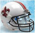 Louisiana (Lafayette) Ragin Cajuns Full XP Replica Football Helmet Schutt <B>White with Fleur De Lis</B>