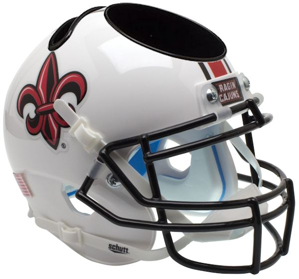 Louisiana (Lafayette) Ragin Cajuns Miniature Football Helmet Desk Caddy <B>White with Fleur De Lis</B>