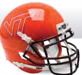 Virginia Tech Hokies Mini XP Authentic Helmet Schutt <B>Orange</B>