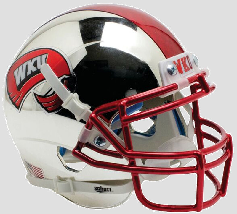 Western Kentucky Hilltoppers Full XP Replica Football Helmet Schutt <B>Chrome with 2 Tone Stripe</B>