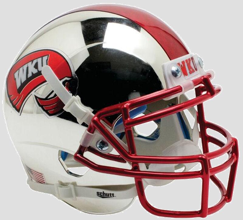 Western Kentucky Hilltoppers Full XP Replica Football Helmet Schutt <B>Chrome with 2 Tone Stripe</B>