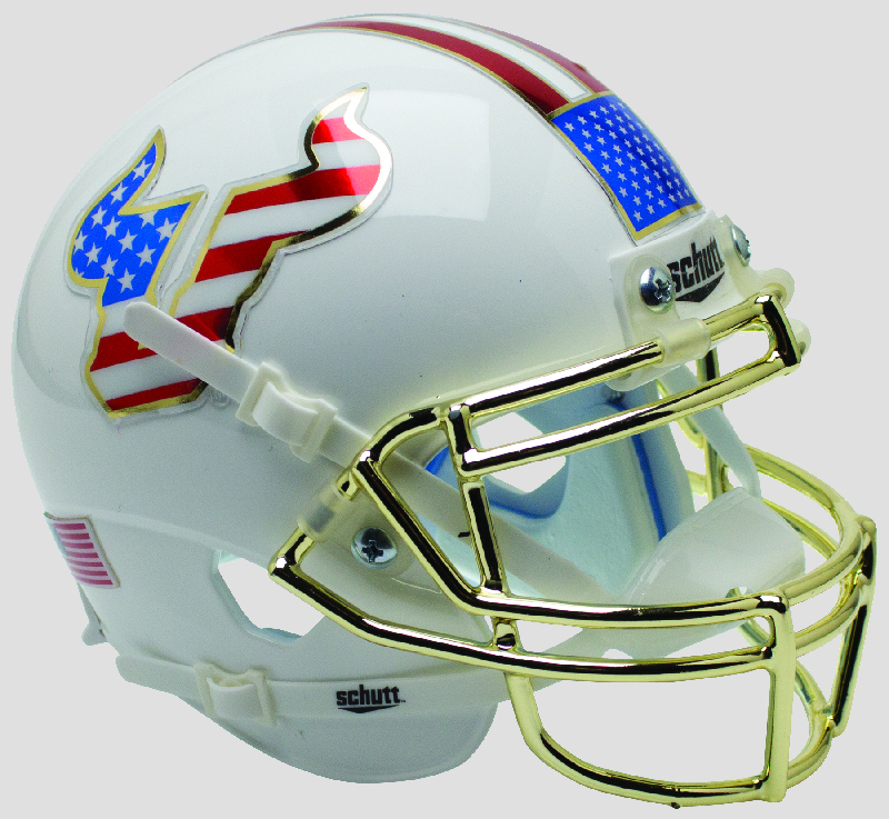 South Florida Bulls Authentic College XP Football Helmet Schutt <B>Flag Chrome Mask</B>