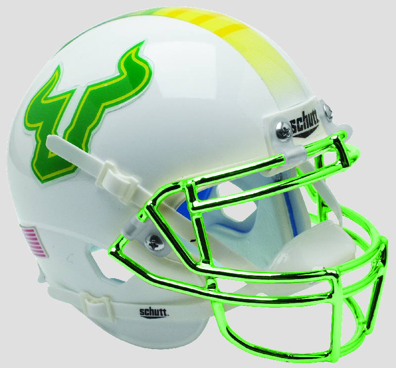 South Florida Bulls Authentic College XP Football Helmet Schutt <B>Green with Chrome Mask</B>