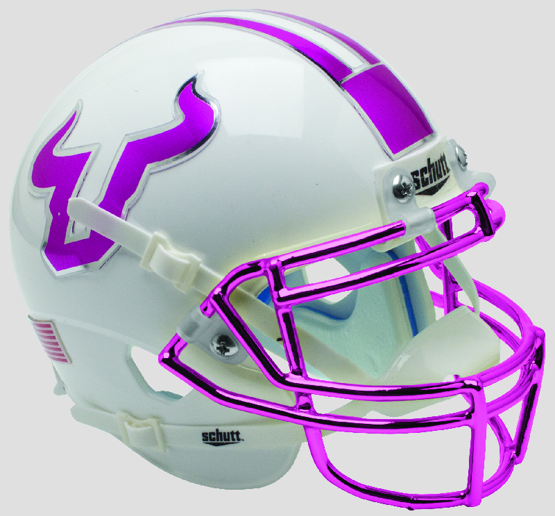 South Florida Bulls Authentic College XP Football Helmet Schutt <B>Pink with Chrome Mask</B>