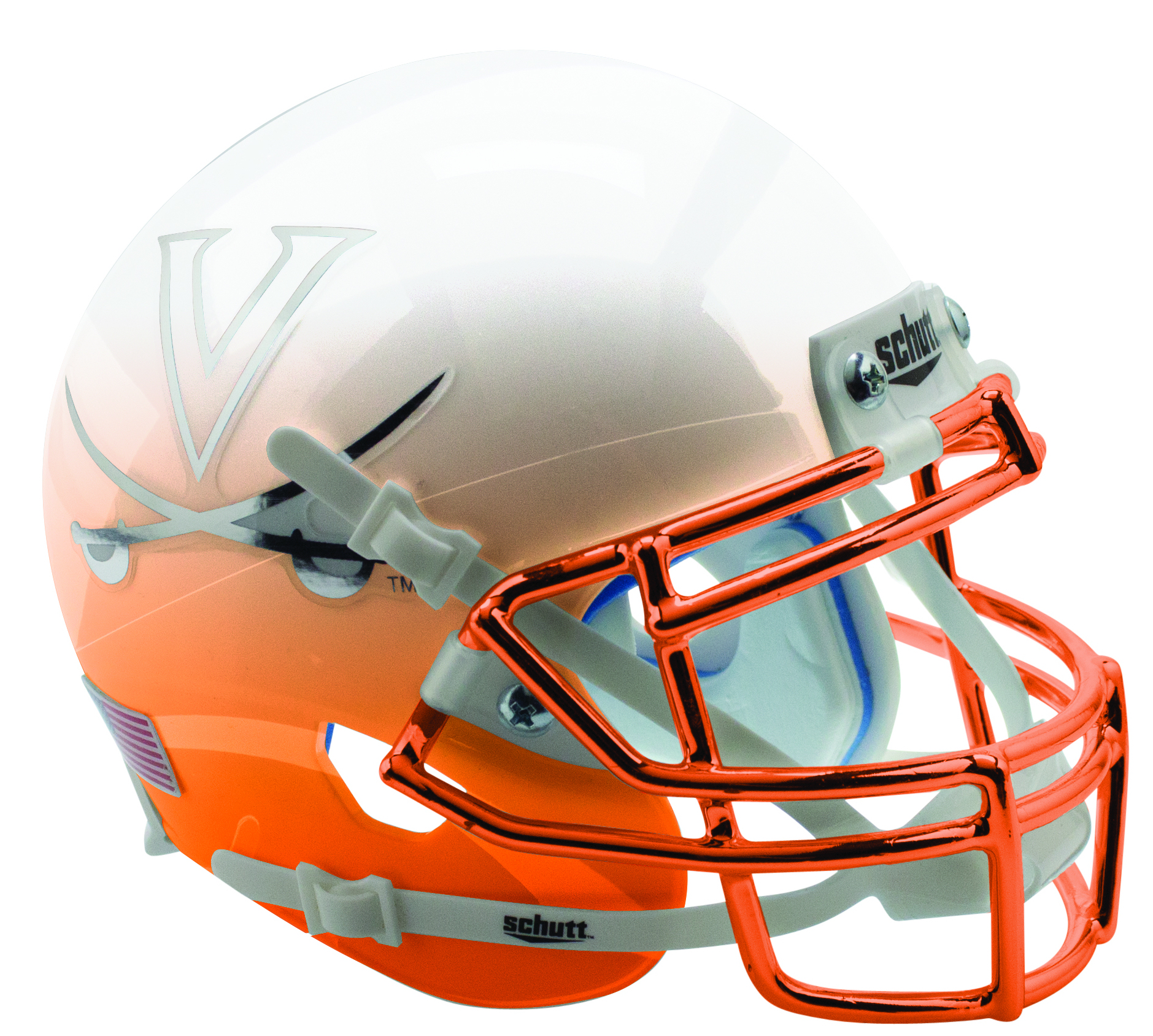 Virginia Cavaliers Authentic College XP Football Helmet Schutt <B>White Orange Featherhead with Chrome Mask</B>