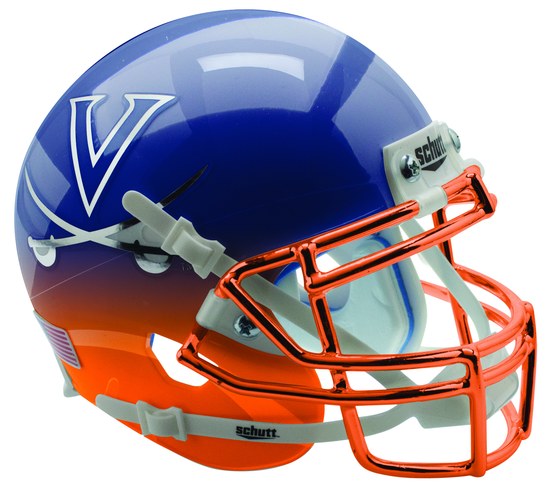 Virginia Cavaliers Authentic College XP Football Helmet Schutt <B>Navy Orange Featherhead with Chrome Mask</B>