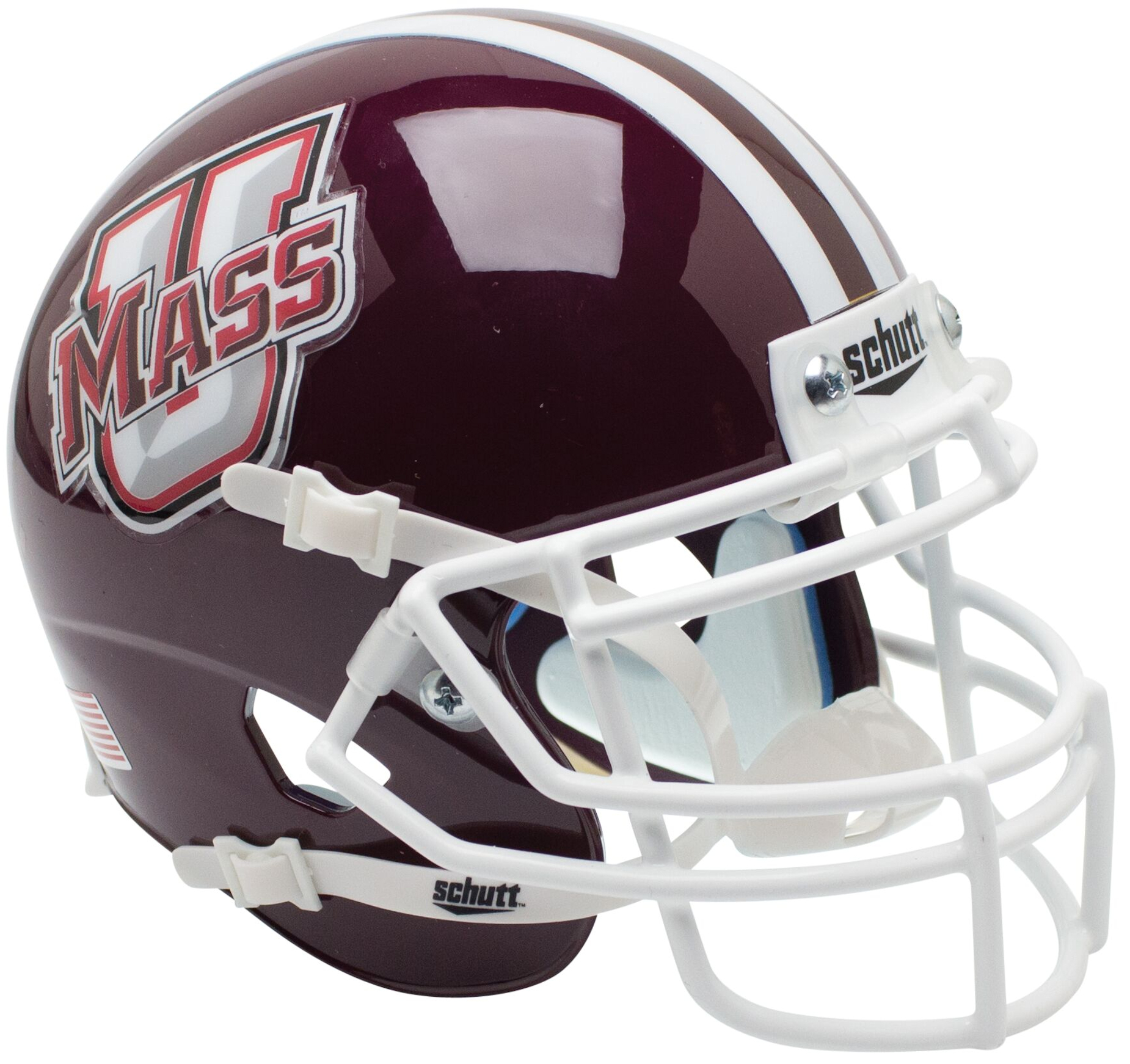 U Mass Minutemen Authentic College XP Football Helmet Schutt <B>Stripe</B>