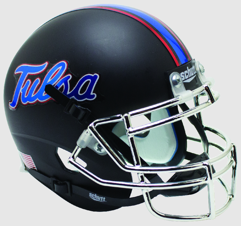 Tulsa Golden Hurricane Full XP Replica Football Helmet Schutt <B>Matte Black Chrome Mask</B>