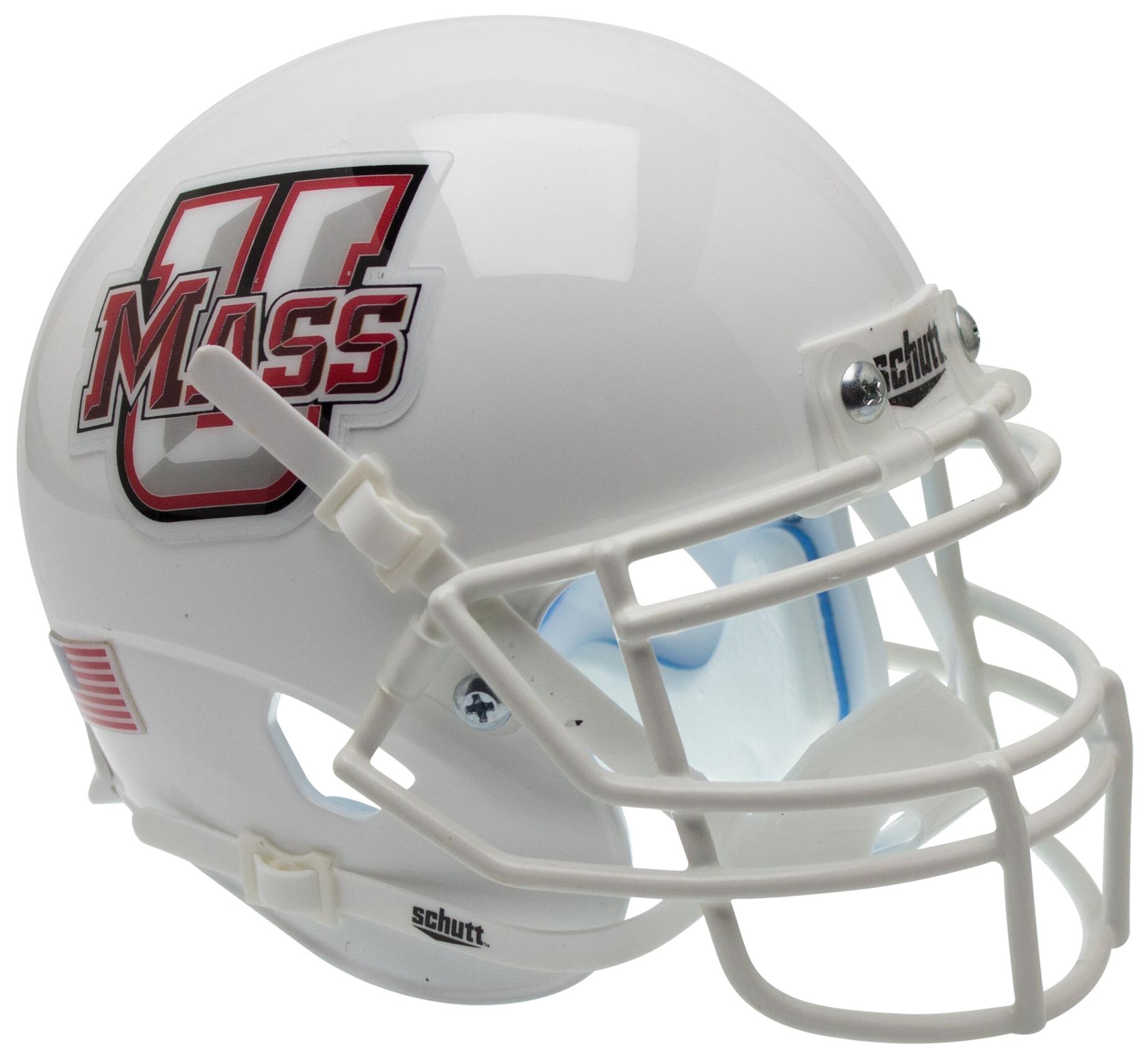 U Mass Minutemen Full XP Replica Football Helmet Schutt <B>White</B>