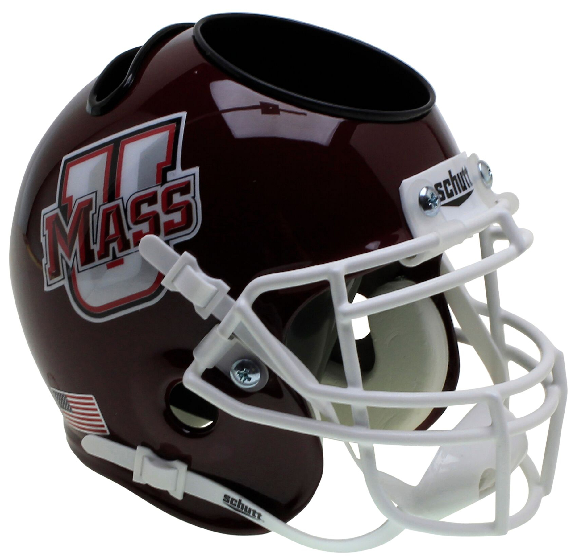 U Mass Minutemen Miniature Football Helmet Desk Caddy <B>Stripe</B>