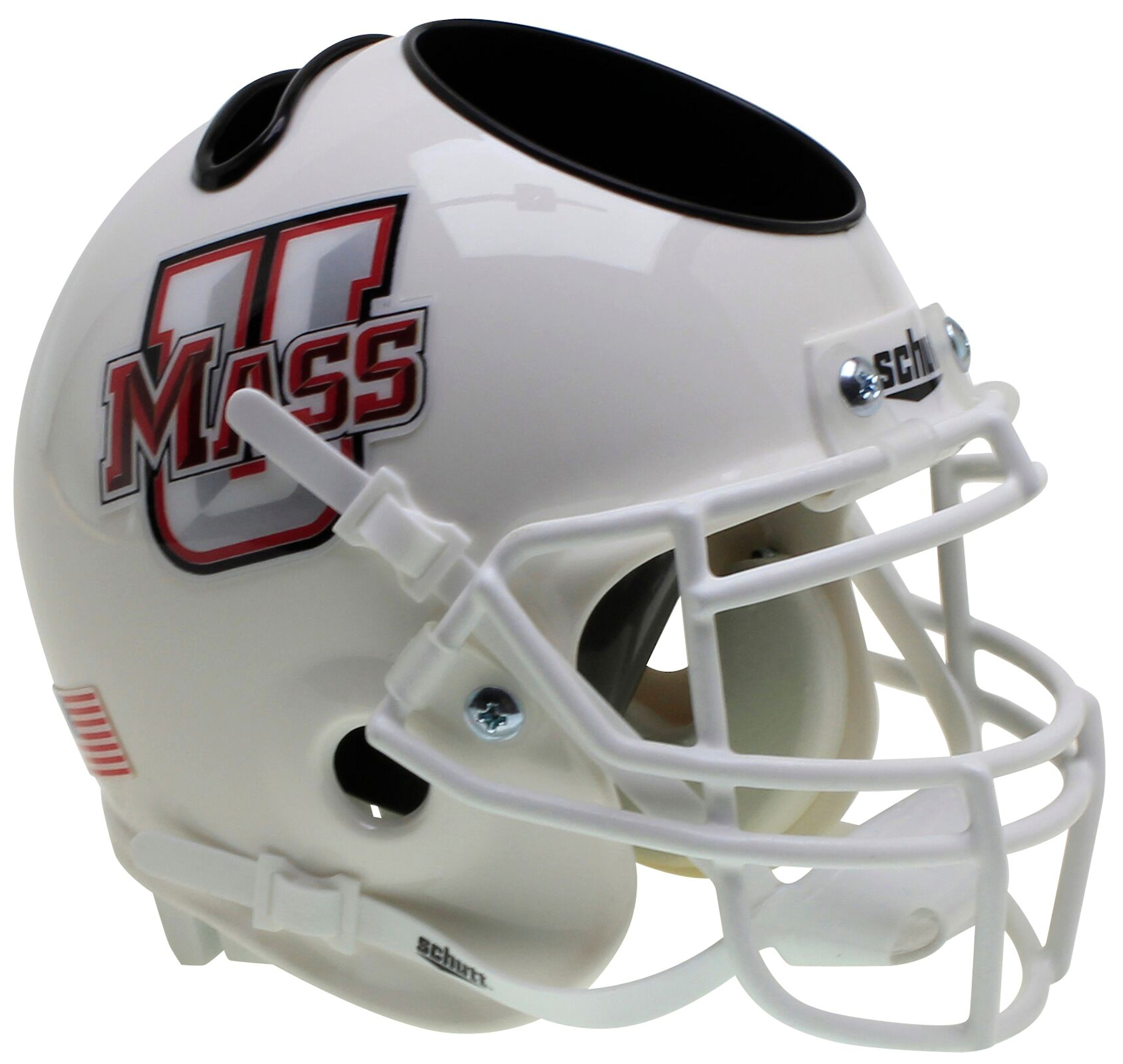 U Mass Minutemen Miniature Football Helmet Desk Caddy <B>White</B>