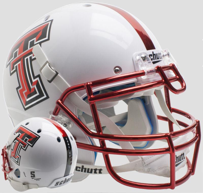 Texas Tech Red Raiders Authentic College XP Football Helmet Schutt <B>Guns Up Red Chrome Mask</B>