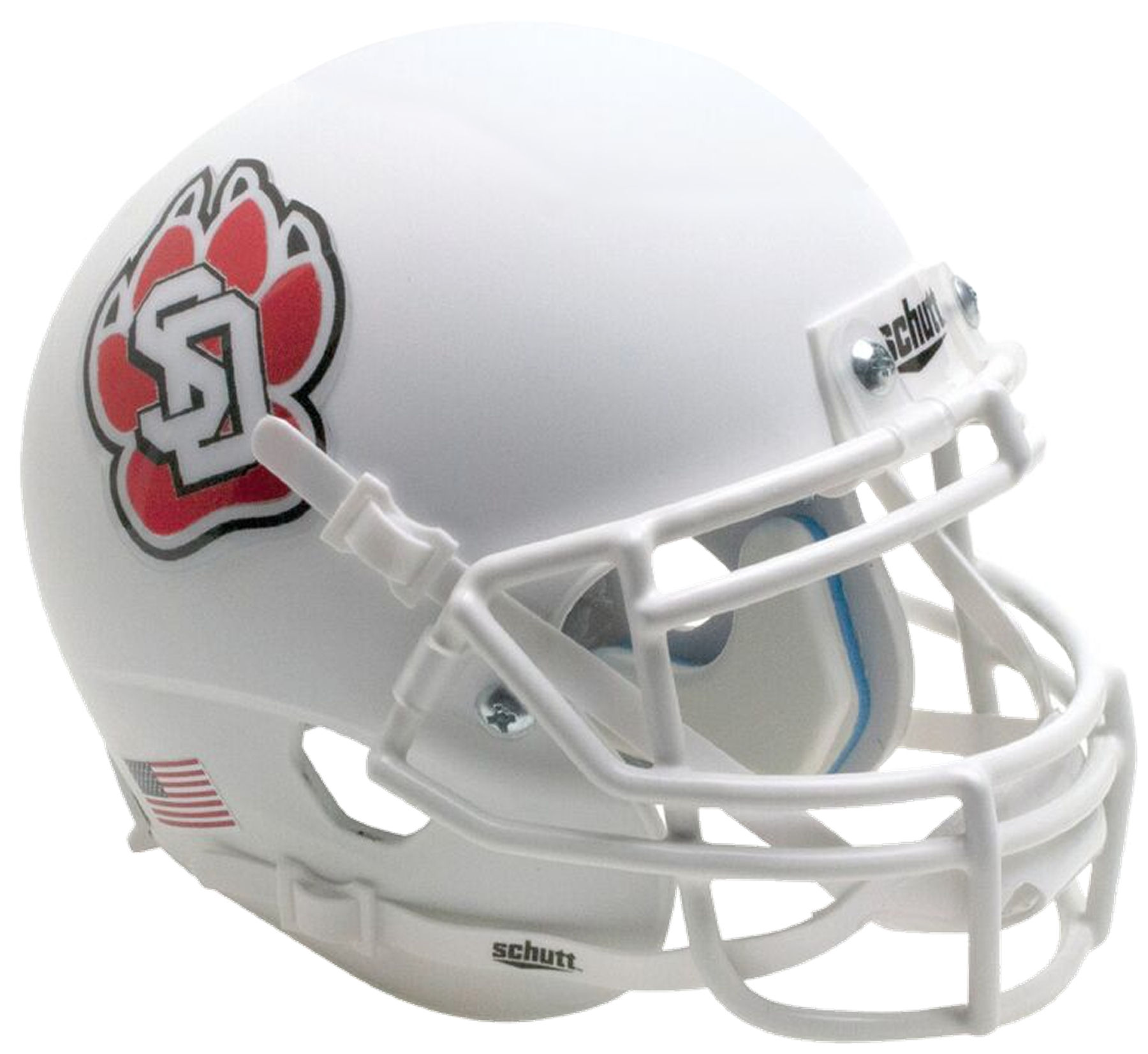 South Dakota Coyotes Mini XP Authentic Helmet Schutt <B>Matte White with Chrome Decal</B>