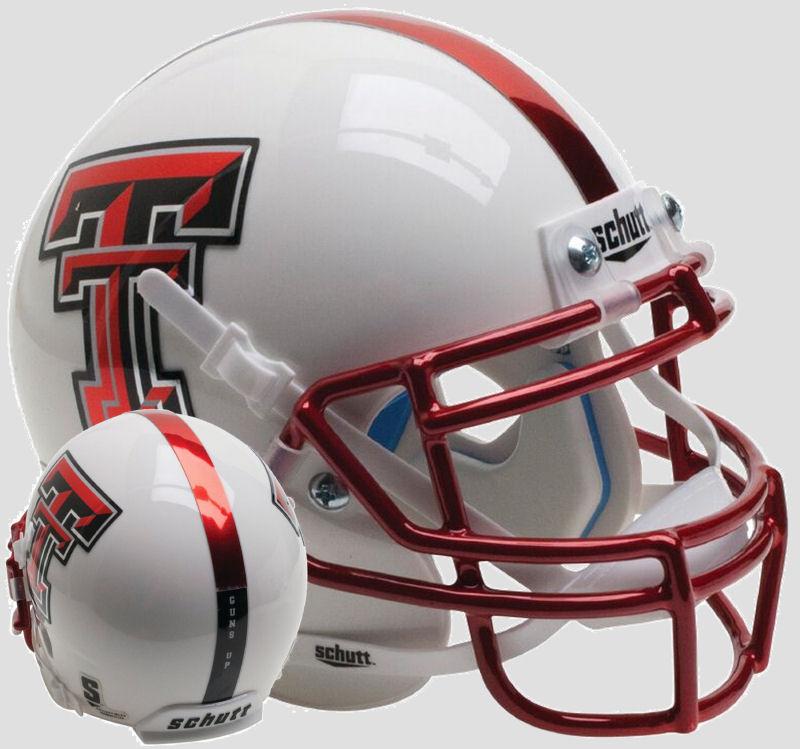 Texas Tech Red Raiders Mini XP Authentic Helmet Schutt <B>Guns Up Red Chrome Mask</B>