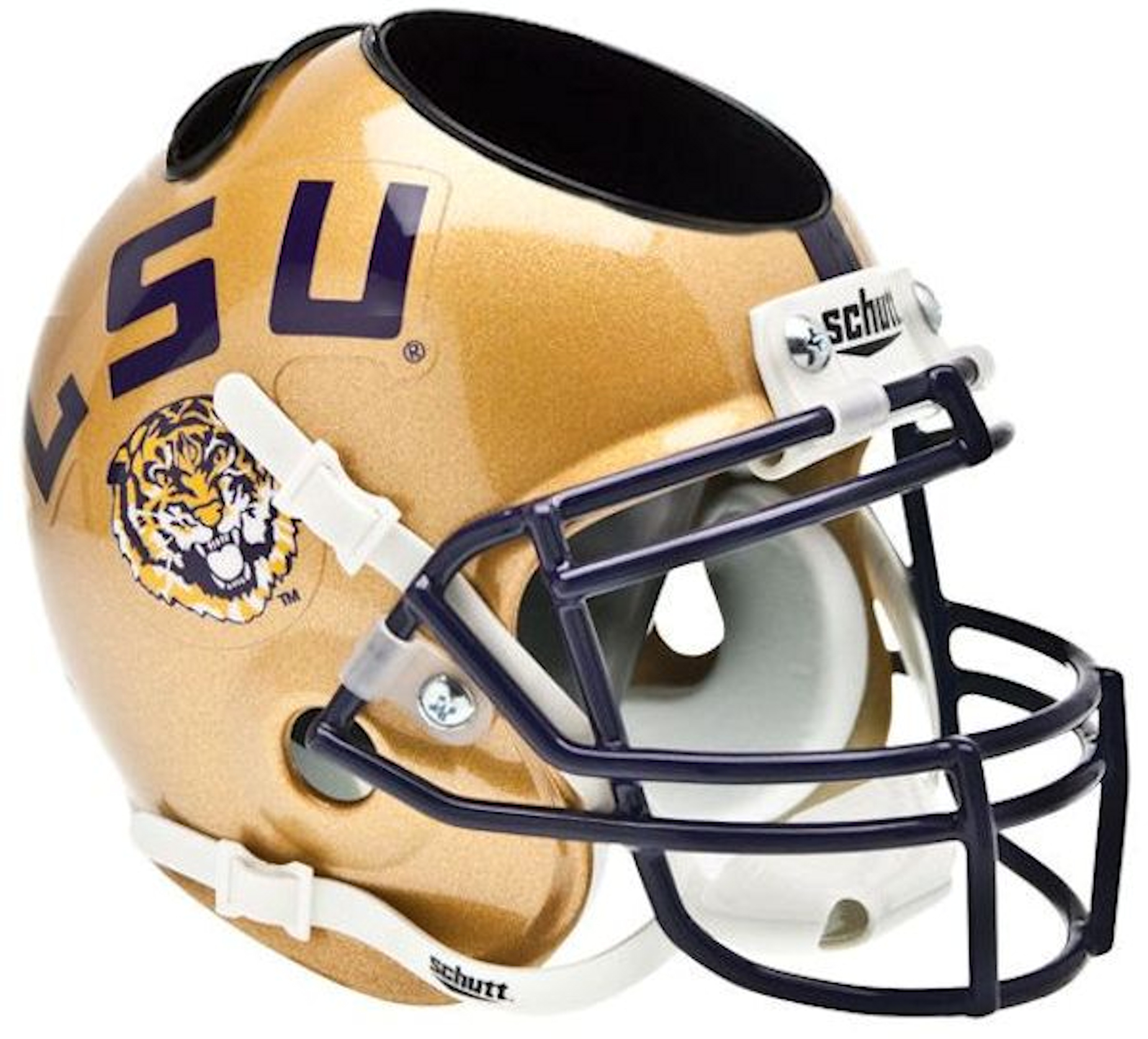 LSU Tigers 2009 Miniature Football Helmet Desk Caddy <B>Gold</B>