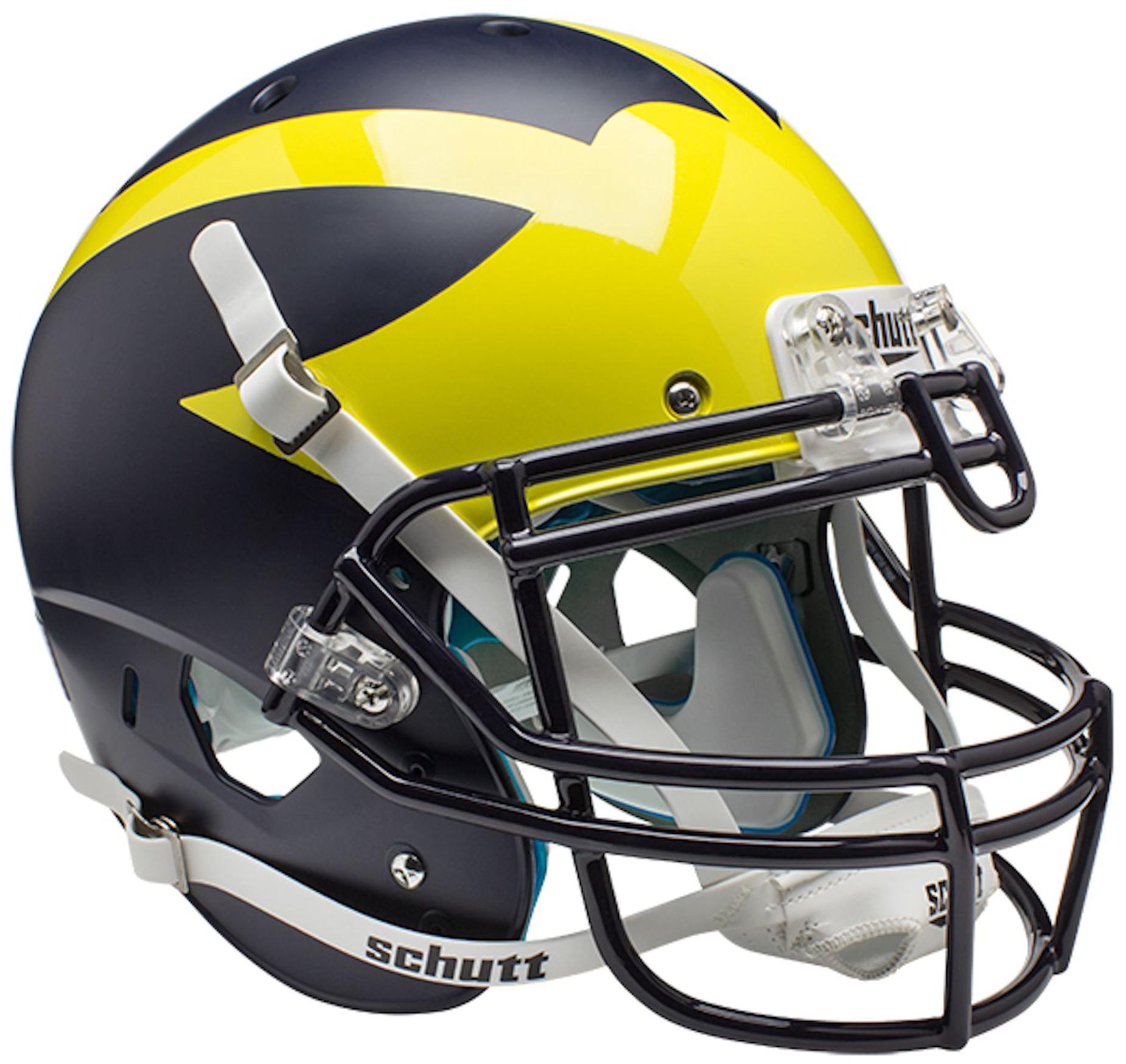 Michigan Wolverines Authentic College XP Football Helmet Schutt <B>Satin Blue</B>