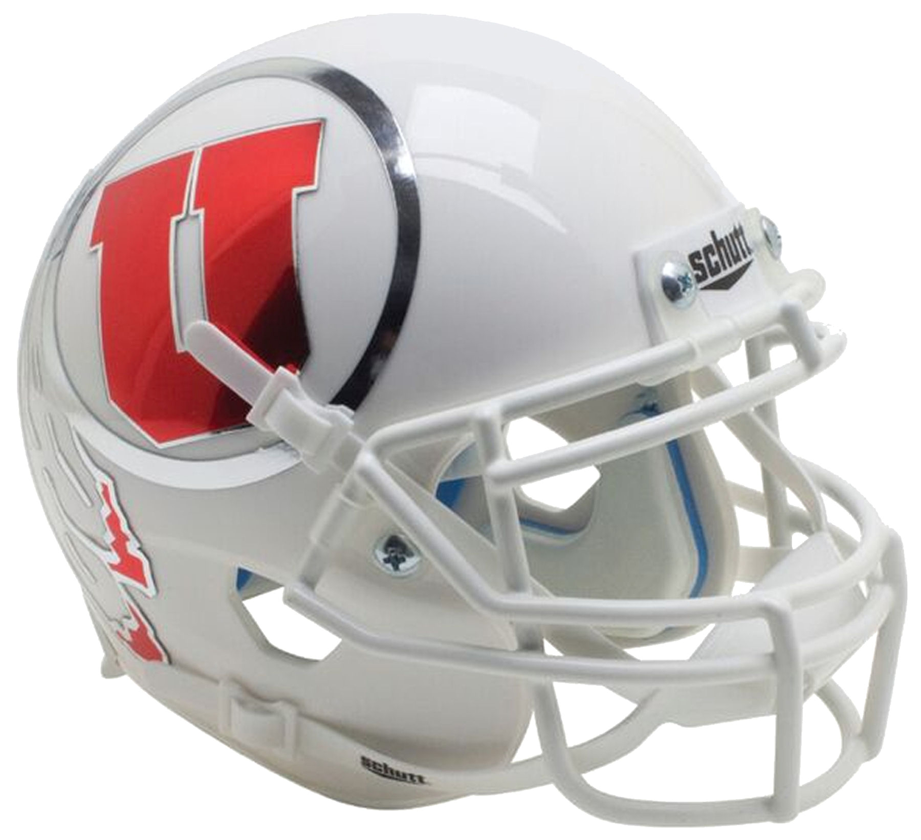 Utah Utes Authentic College XP Football Helmet Schutt <B>White w/Oversized Decal<B>