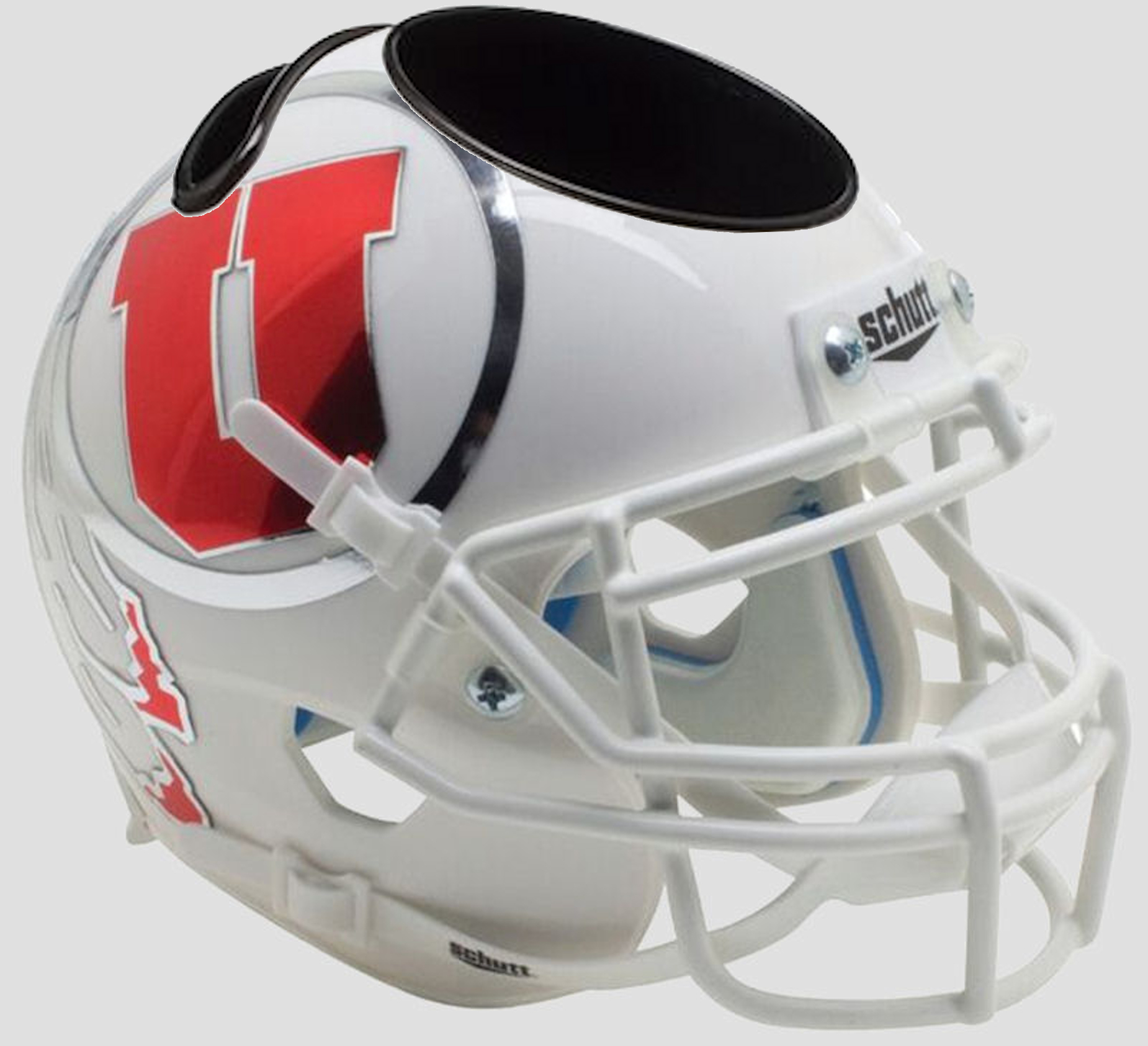 Utah Utes Miniature Football Helmet Desk Caddy <B>White w/Oversized Decal</B>